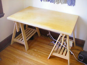 Adjustable Ikea Desk with Finnvard Trestle