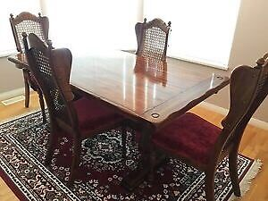 Solid pine dining table & chairs with rattan & fabric