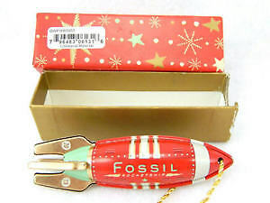 FOSSIL Brand TIN Toy RED Rocketship Christmas Ornamen