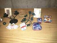 4 petites lanternes avec bougies et autres petits bibelots