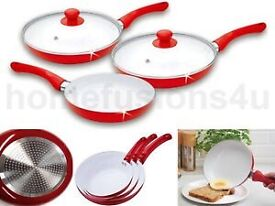 NEW 5 PIECE CERAMIC COATED FRYING PAN SET RED WHITE NON STICK PYREX GLASS LID... new