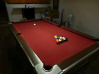 Red felt National Slate Pool Table with cues & balls
