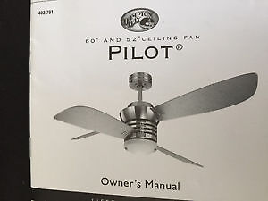 SALE Pilot Blade Ceiling Fan in Brushed Nickel  Finish. $280.00