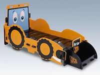 Joey JCB Toddler Bed and Next Childrens Bedroom Items - Curtains, Rug, Shelf, Unit, Clock, Moneybox