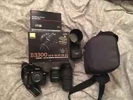 Nikon D3300 D-SLR, 2 lenses, full set up