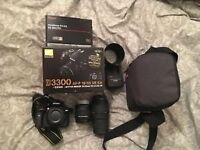 Nikon D3300 D-SLR, 2 lenses, full set up
