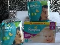 129 Pampers nappies size 3