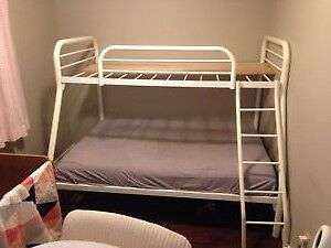 White Metal Single over Double Bunk Bed