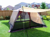 Screen House with 4 awnings, camping equipment