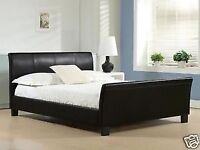 Brand New Brown Double Leather Bed with Luxury Memory Foam Mattress