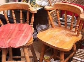 Two 1970s to 1980s Heavy Pine Stools for Up Cycle or re-varnish. No Chips or big scratches.