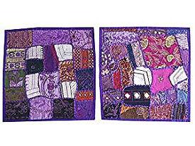 2Pcs Indian Handmade Decorative Sequin Patchwork Embroidery Floor Home Decor Pillow Case