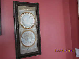 Wooden framed Antique world maps canvas print