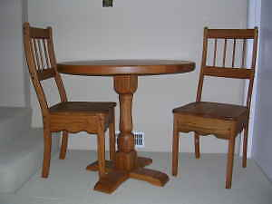 SOLID OAK TABLE & 2 CHAIRS