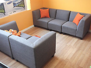 SPECIAL! 5 PC MODULAR GREY COUCH & LOVESEAT - USED 3 WEEK