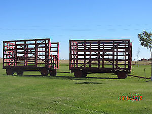 2 Farm Hay Wagons with Thrower Racks for sale