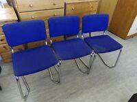 20% OFF ALL ITEMS SALE - 3 x Stacking Chairs With Silver Legs For Reupholstery Project