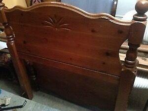 Single bed with headboard footboard and side rails hardwood.