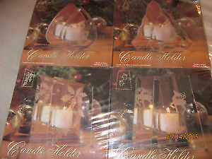 4 NEW Christmas Glass Mirror Tea light Candle Holders. BRAND NEW
