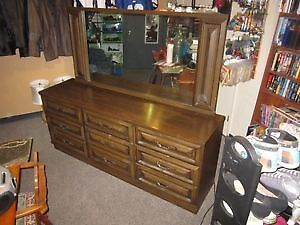 Large Spacious 9 Drawer Wood Dresser With Matching Mirror