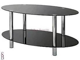 Hygena matrix oval black coffee table in excellent condition