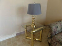 Brass and Glass End Table and Lamp,  New