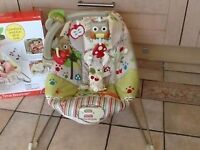 Fisher Price Baby Bouncer Woodsy comfy time bouncer. Superb condition. With box.