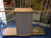 Large glass retail display cabinet