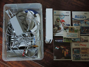 Wii, hookups, accessories, 5 games