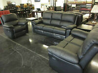 NEW LEATHER RECLINING SOFA SET 2499