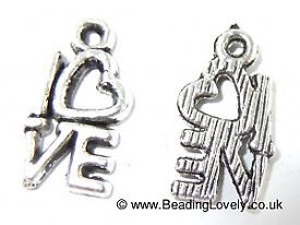 Tibetan Silver Love Charms - Pack of 10