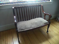 Antique Wooden Bench - Leather Seat
