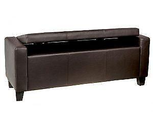Espresso Leather Storage Long Bench on Sale in Toronto (BD-2644)