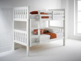 white, soild, wooden, chunky, sturdy, bunk bed, with x 2 padded, mattress.