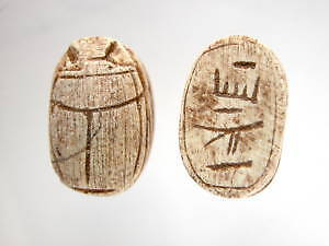 Egyptian Ceramic Faience Scarab Hieroglyph Beads 10 Lot