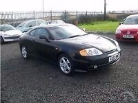 Hyundai Coupe, v6, Low Mileage, Mot til end of year, Black with Black leather