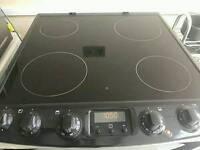 Zanussi black ceramic double oven cooker