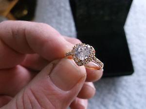 Romantic Heart Ring Gold Color Wedding Jewelry Promise Ring