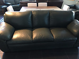 Dark Green Leather Couch and Loveseat