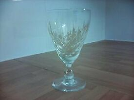 6 Cut Glass White Wine Glasses