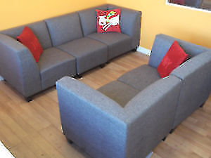 STUDENT SPECIAL - THREE PIECE MODULAR GREY COUCHES - AS NEW