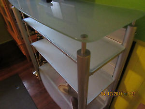 Frosted glass and metal shelving unit bookcase