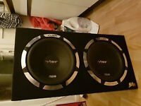 2 x 12 inch vibe slick subwoofers with built in amp - 2400 watts