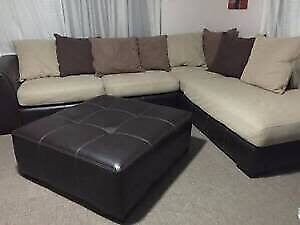 Lounge brown harvey Norman York with cushions and ottoman