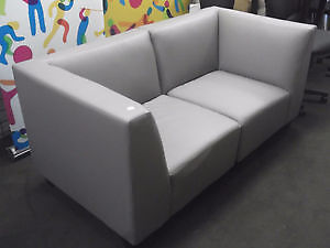 NEW GRAY FAUX LEATHER MODULAR LOVE SEAT
