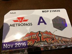 TTC November Adult Metropass for $130.00