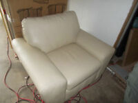 Brand new cream color leather chair for sale