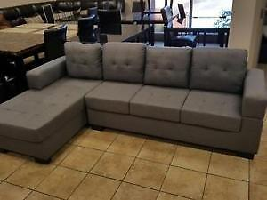 HOLIDAY SPECIALS ON NOW GREY FABRIC CONDO STYLE SECTIONAL $299 LOWEST PRICES GUARANTEED