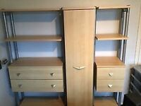Boys or girls maple and steel wall unit and desk