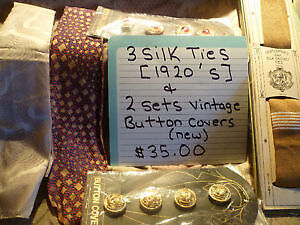 1920's Silk Ties & New Vintage Button Covers